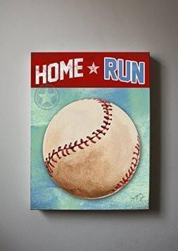 Boy Room Decor Baseball Canvas Wall Art Homerun Theme - Vintage Sports Wall Decor - MuralMax Interiors