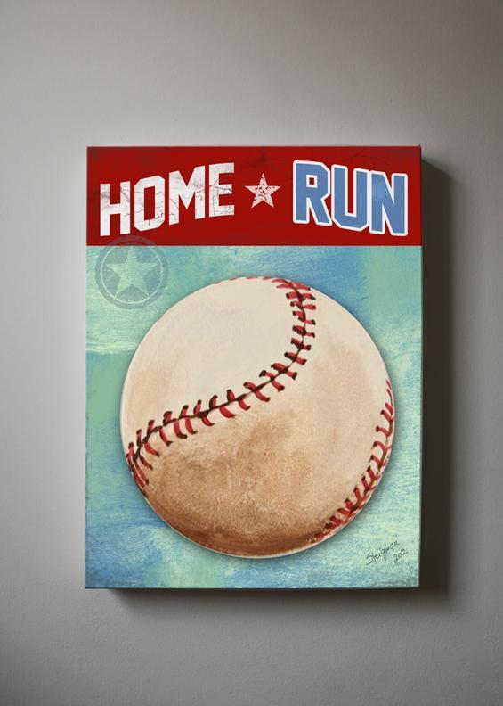 Boy Room Decor Baseball Canvas Wall Art Homerun Theme - Vintage Sports Wall Decor
