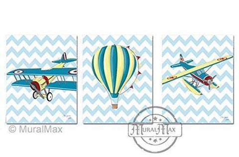 Boy Room Decor - Modern Chevron Hot Air Balloon & Airplane Theme - Transportation Collection - Unframed Prints - Set of 3-B018KOBPOM-MuralMax Interiors