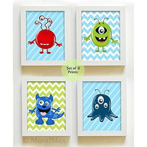 Boy Room Decor Monsters Prints - Set of 4 Nursery Art - Unframed Prints - MuralMax Interiors