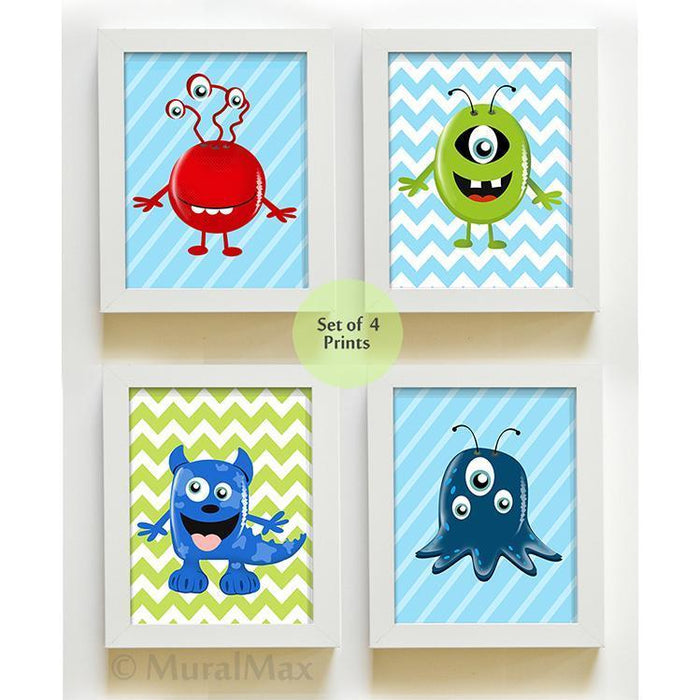 Boy Room Decor Monsters Prints - Set of 4 Nursery Art - Unframed Prints