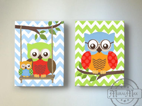 Boy Room Decor - Owls Swinging From A Branch - Set of 2 Canvas Nursery Art