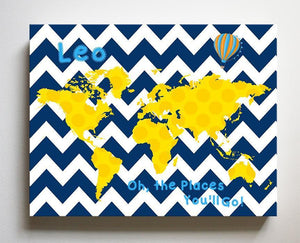 Boy Room Decor Personalized Dr Seuss Nursery Wall Art - Chevron Canvas World Map Collection - Oh The Places You'll Go-B071W2RK6Y - MuralMax Interiors