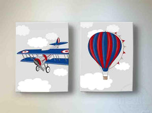 Boy Room Decor Vintage Airplane & Hot Air Balloon Canvas Art - Aviation Kids Room Decor - Set of 2Baby ProductMuralMax Interiors