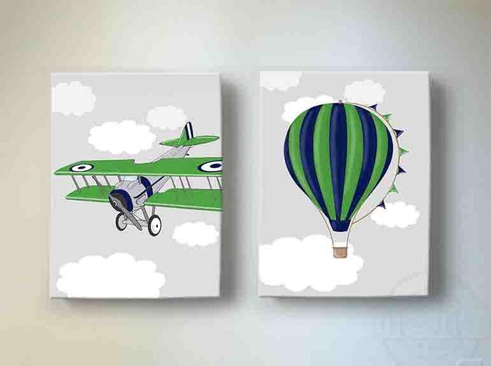 Boy Room Decor Vintage Airplane & Hot Air Balloon Canvas Art - Aviation Kids Room Decor - Set of 2
