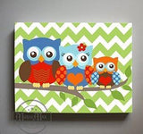 Boy Room Owl Nursery Decor - Family Of 3 Canvas Art - Chevron Nursery Wall Decor