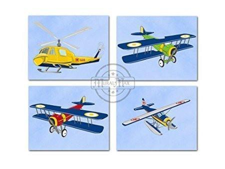 Boy Room Wall Art Vintage Airplane Wall Art Collection - Unframed Prints - Set of 4-B018KOCR6C-MuralMax Interiors