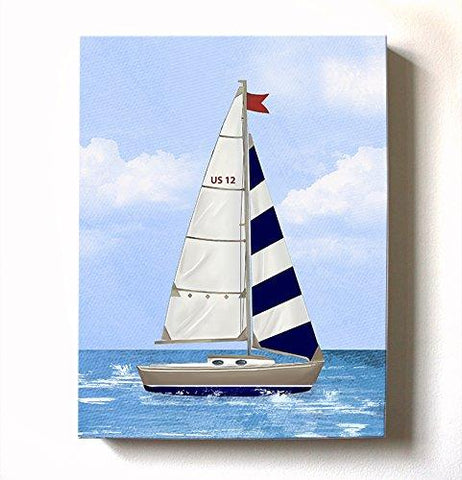 Boy's Sailboat Nursery Art - Nautical Sailboat Canvas Wall Art - Nautical Baby Boy Room Decor - MuralMax Interiors