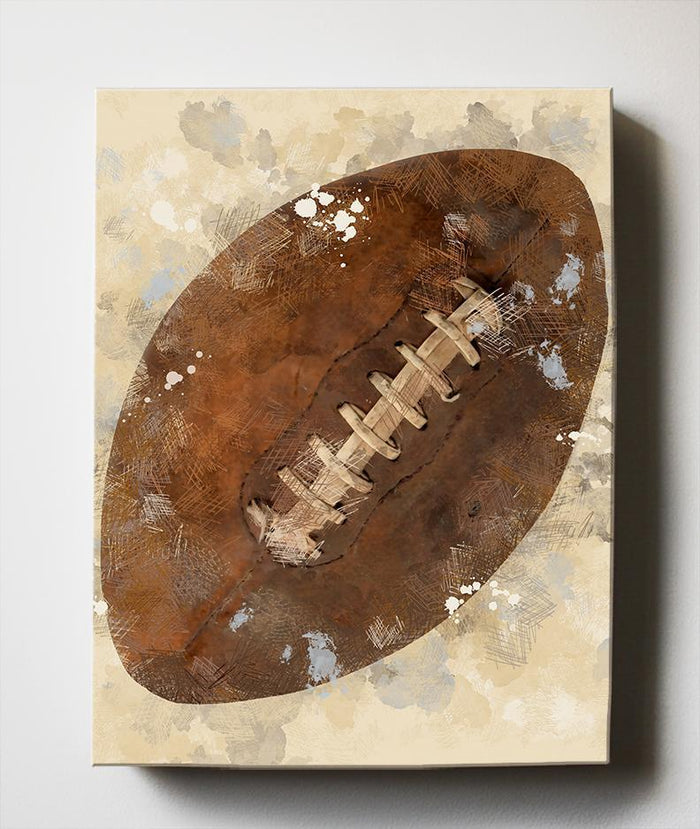 Boys Sports Canvas Nursery Wall Decor - Unique Football Art Gifts for Bedrooms & Playrooms - Great Baby Shower Presents