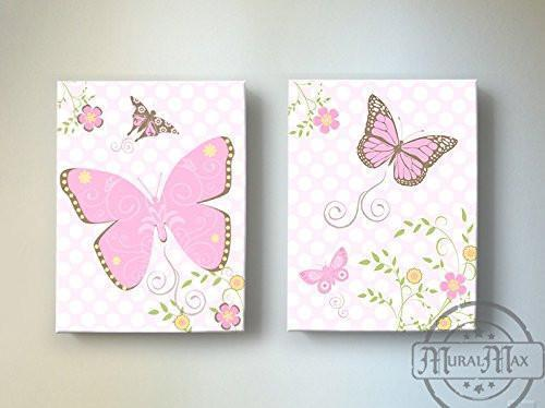 Butterfly & Flower Garden Nursery Wall Art - The Canvas Polka Dot Collection - Set of 2-B019017VLU