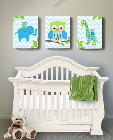 Canvas Baby Boy Nursery Art Owl Giraffe & Elephants Nursery Decor - Set of 3