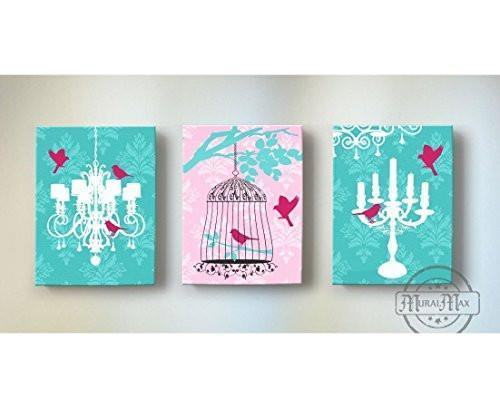 Chandelier & Candelabra - Birdcage Wall Art - The Paris Collection - Canvas Decor - Set of 3-B018ISLEPA