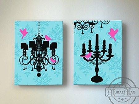 Chandelier & Candelabra Lovebirds Girl Room Decor - The Paris Collection - Canvas Decor - Set of 2-B018ISL5JU