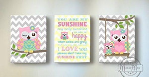 Chevron Canvas Your Are My Sunshine Rhyme - Whimsical Olw Family Collection - Set of 3-B018GSZL2E - MuralMax Interiors