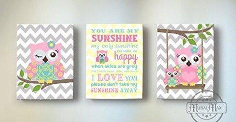 Chevron Canvas Your Are My Sunshine Rhyme - Whimsical Olw Family Collection - Set of 3-B018GSZL2E