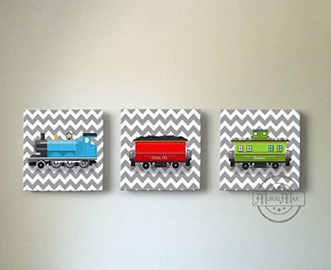 Chevron - Choo Choo The Train Wall Art Theme - Canvas Nursery Decor - Set of 3-B018ISKSRU