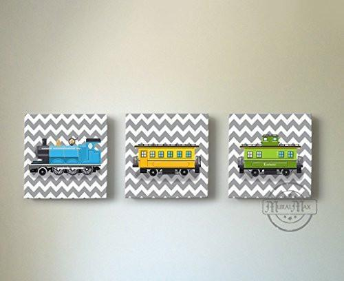 Chevron - Choo Choo The Train Wall Art Theme - Canvas Nursery Decor - Set of 3-B018ISKXI4-MuralMax Interiors