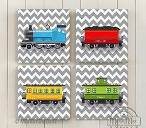 Chevron - Choo Choo The Train Wall Art Theme - Canvas Nursery Decor - Set of 4-B018ISL1NK - MuralMax Interiors