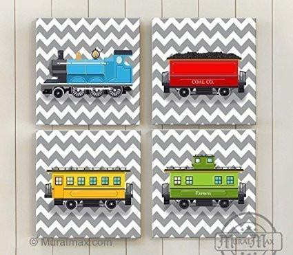 Chevron - Choo Choo The Train Wall Art Theme - Canvas Nursery Decor - Set of 4-B018ISL1NK