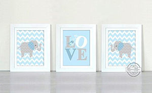 Chevron Elephant Boy Nursery Art - Love Baby Blue Inspirational Quote - Set of 3 - Unframed Prints - MuralMax Interiors