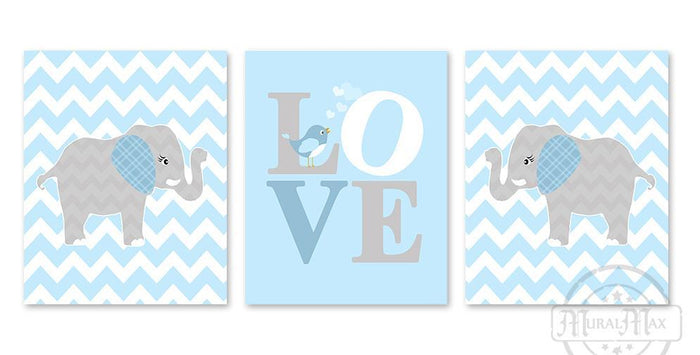 Chevron Elephant Boy Nursery Art - Love Baby Blue Inspirational Quote - Set of 3 - Unframed Prints
