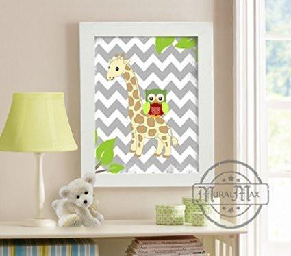 Chevron Giraffe Collection - Unframed Print-B018KOESAA-MuralMax Interiors