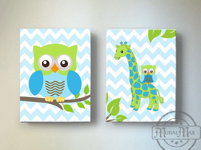 Chevron Giraffe & Owl Nursery Art - Boy Room Canvas Decor - Set of 2-Blue Green Wall Art