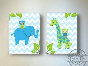 Chevron Giraffe & Owl Safari Nursery Art - Canvas Nursery Decor - Set of 2-Blue Green - MuralMax Interiors
