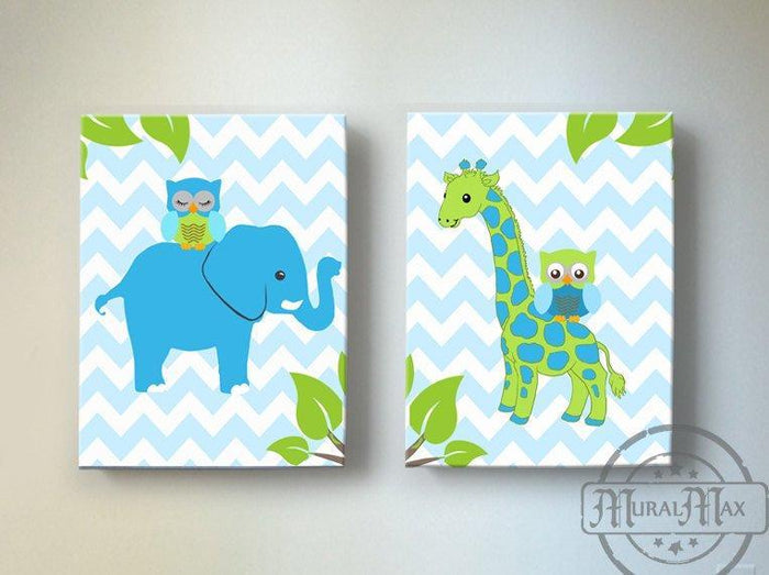 Chevron Giraffe & Owl Safari Nursery Art - Canvas Nursery Decor - Set of 2-Blue Green