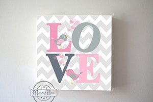 Chevron Love Inspirational Quote Canvas Nursery Art -Pink & Gray Girl Room Wall Art - MuralMax Interiors