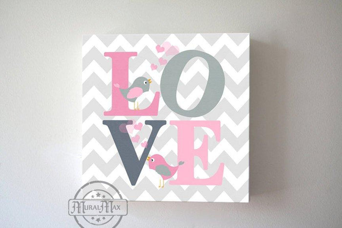 Chevron Love Inspirational Quote Canvas Nursery Art -Pink & Gray Girl Room Wall Art