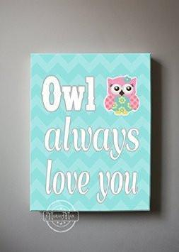 Chevron Owl Canvas Quote Art - Owl Always Love You - Whimsical Owl Collection - Set of 2