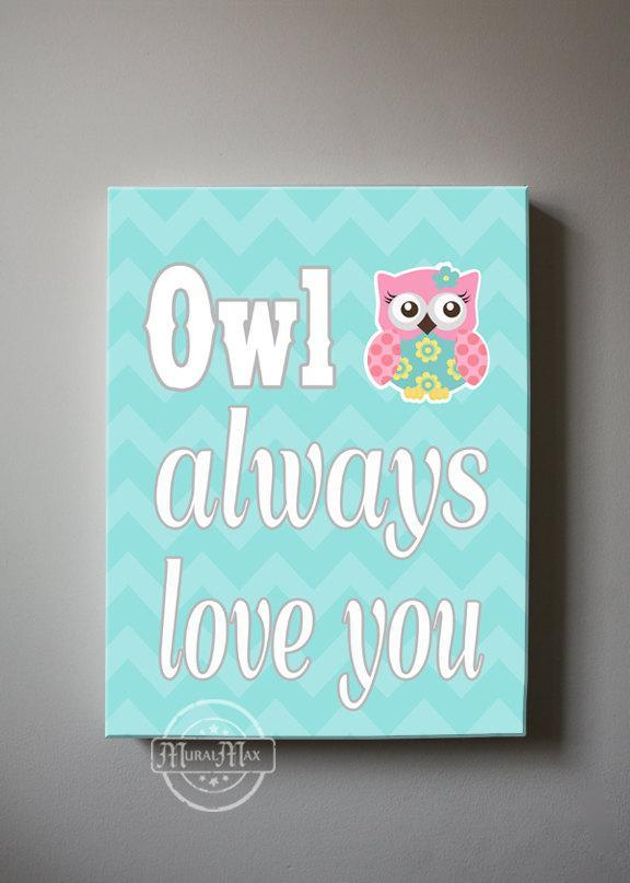 Chevron Owl Canvas Quote Art - Owl Always Love You - Whimsical Owl Collection - Set of 2-MuralMax Interiors