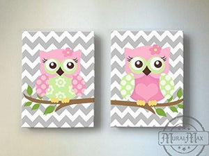 Chevron Owl Canvas Wall Art - Toddler Girl Room Owl - Set of 2 Canvas ArtBaby ProductMuralMax Interiors