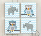 Chevron Owl & Elephant Baby Boy Room Decor - The Safari Canvas Decor Collection - Set of 4