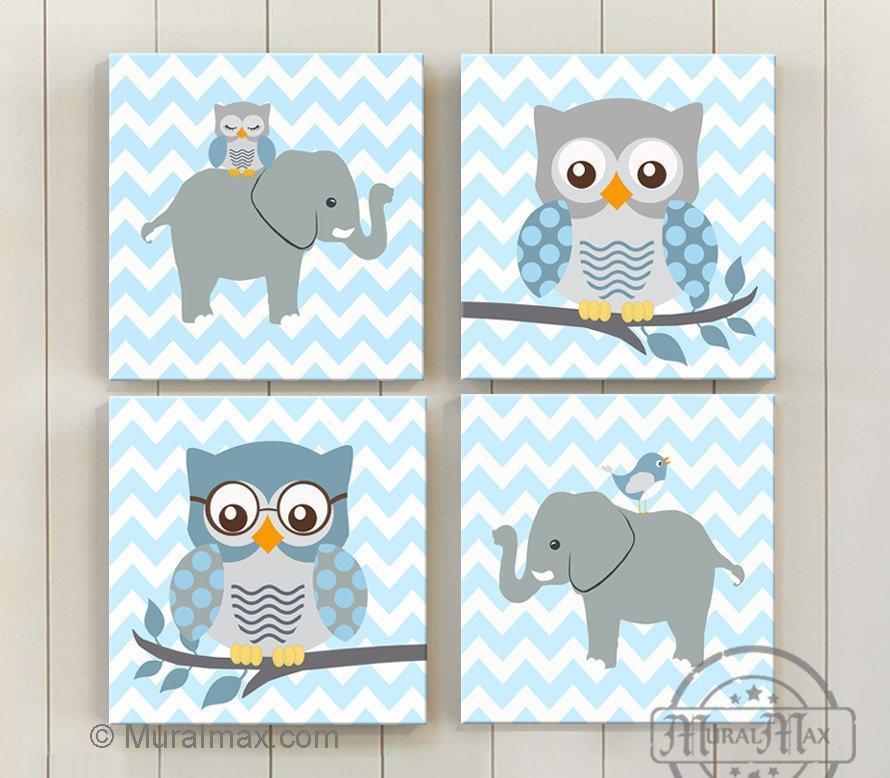 Chevron Owl & Elephant Baby Boy Room Decor - The Safari Canvas Decor Collection - Set of 4 - MuralMax Interiors