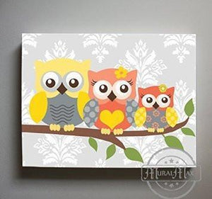 Chevron Owl Family Perched On A Branch - Canvas Decor-B018GSXCFC - MuralMax Interiors