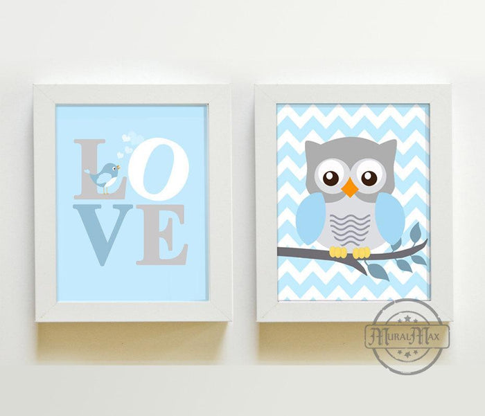 Chevron Owl & Love Nursery Art Prints - Set of 2 - Unframed Prints - Baby Blue and Gray Decor