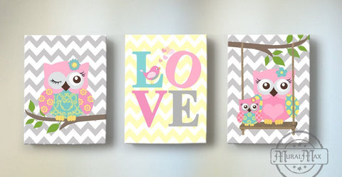 Chevron Owl Nursery Art - Canvas Inspirational Quote - Set of 3- Owl & LOVE Canvas Art
