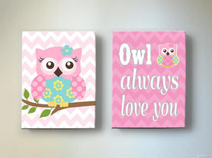 Chevron Owl Nursery Decor - Owl Always Love You Canvas Wall Art - Set of 2-Pink Aqua Decor - MuralMax Interiors