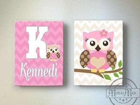 Chevron Personalized Owl Always Love You Decor - Canvas Nursery Art Collection - Set of 2-B018GT25HW