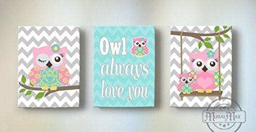 Chevron Pink Aqua Owl Nursery Decor Canvas Art - Inspirational Quote - Set of 3 - MuralMax Interiors