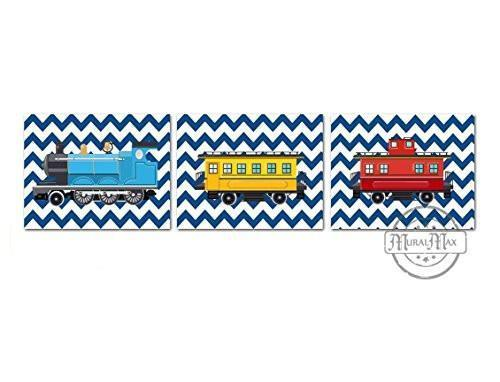 Chevron Railroad Train Cars Theme - Unframed Prints - Set of 3-B018KOCHU8