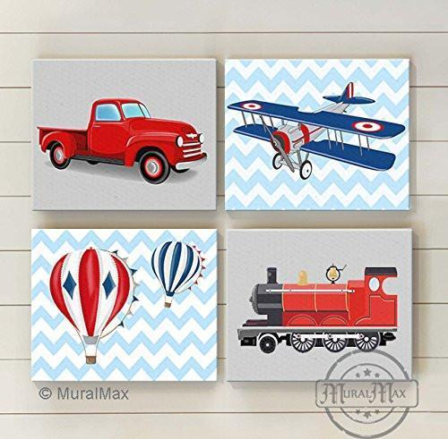 Chevron - Transportation Nursery Theme - Canvas - Trains - Planes Travel Collection - Set of 4-B01CJ4MA34-MuralMax Interiors