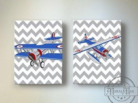 Chevron - Vintage Seaplanes Theme - The Canvas Aviation Collection - Set of 2-B018ISII5O