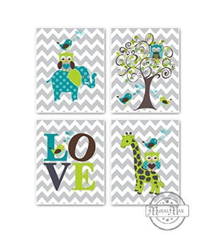 Chevron Whimsical Loving Characters Collection - Set of 4 - Unframed Prints-B01CRT8KTY - MuralMax Interiors