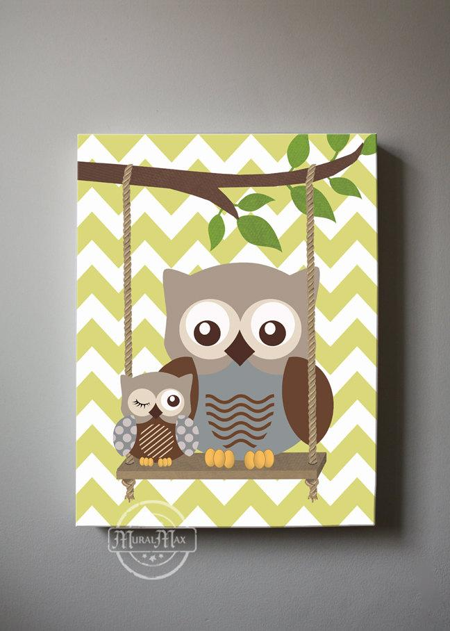 Chevron Whimsical Owl Nursery Art - Owls Swinging In a Tree Canvas Art-Brown Tan Decor