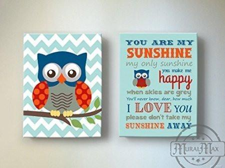 Chevron You Are My Sunshine Owl Nursery Art - Canvas Art - Set of 2-Blue Red Nursery Decor
