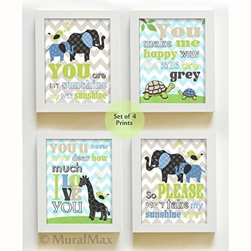 Chevron - You Are My Sunshine Whimsical Friends Theme - Set of 4 - Unframed Prints-B01CRMK3S2