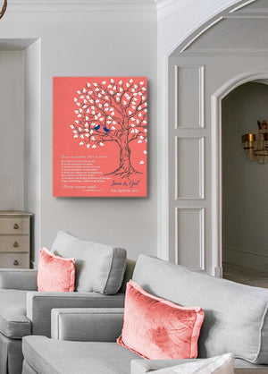 Christmas Gift - Custom Family Tree & Lovebirds, Stretched Canvas Wall Art, Anniversary Gifts, Unique Wall Decor, Color - Coral - B01HWLKOLO - MuralMax Interiors